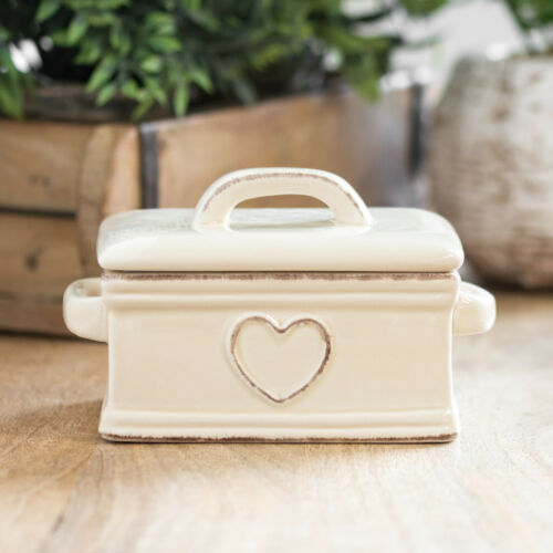 Embossed Heart Ceramic Butter Storage Dish Lid Covered Dining Table Serving Bowl