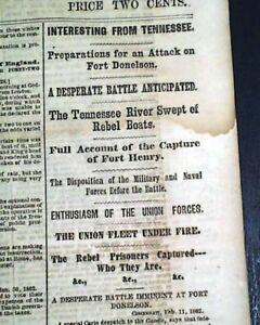 BATTLE-OF-ROANOKE-ISLAND-North-Carolina-amp-Fort-Henry-1862-Civil-War-Newspaper