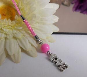 Handy Anhänger / Taschenanhänger / Schlüsselanhänger / Love + Perle rosa