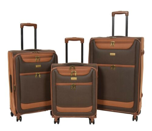 4 Wheel Luggage Suitcase Faux Suede Vintage Brown Travel Lightweight Luggage NEW