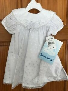 e1b7f8de7 Image is loading New-Madonna-Christening-Baptism-Dress-Gown-white-bonnet-