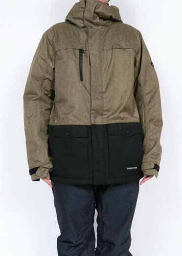686 Anthem Insulated Snowboard Jacket (L) Khaki Melange Colorblock L9W125-KHA