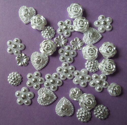 24 mixed shape pearl flatback gems Baby Christening Weddings Cards Craft 12-18mm