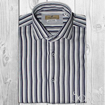 Camicia Uomo Casual Basic Bianca Cotone Righe Blu Manica Lunga Slim Fit SARANI