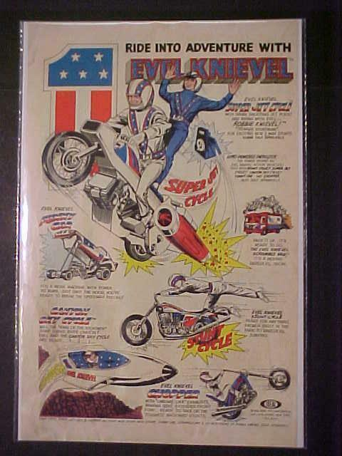 EVEL KNIEVEL TOY MOTORCYCLE JET STUNT CYCLE BIKE SETS ORIG PRINT AD VINTAGE 1976