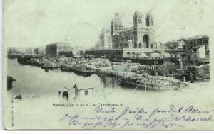 MARSEILLE-CPA-Litho-AK-um-1900-Hafen-Schiffe-Cathedrale