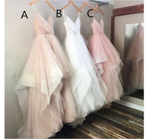 ed54ec8cfc Image is loading Spaghetti-Strap-Boho-Beach-Wedding-Dresses-Blush-Bridal-