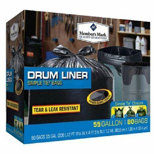 Husky HK55WC060C Drum Liner Trash Bags 55 Gallon Clear