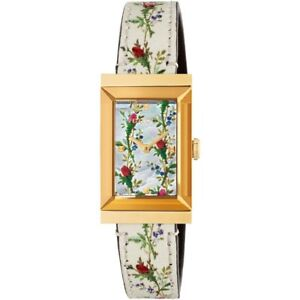 121de1c3ab9 Image is loading Gucci-YA147407-G-Frame-Swiss-Leather-Strap-Flowers-