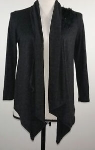 Wrapper-Womens-Sweater-Size-Small-S-Black-Wrap-Long-Sleeve-Shirt-Top