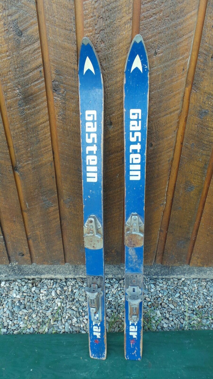 VINTAGE Wooden 52  Skis bluee and White  Finish with Metal Bindings Signed GASTEIN  authentic
