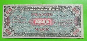 P-195 GERMANY 20 Mark Allied Military Currency MPC WW II 1944 UNC