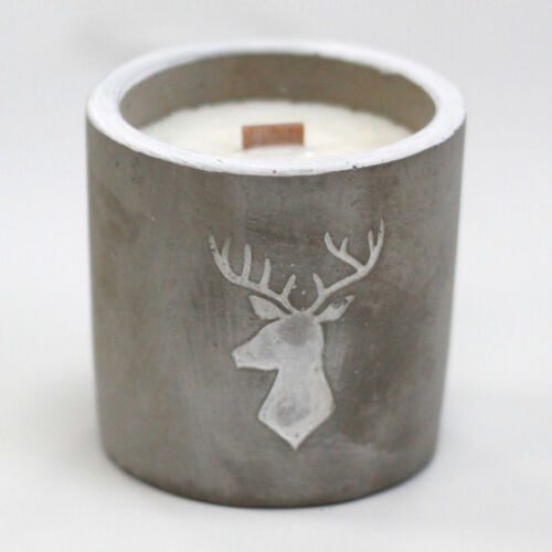 Concrete Wooden Wick Candles Med Pot Stag Head Whiskey /& Woodsmoke PRESENT GIFT