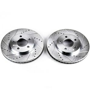 Slotted and Zinc Plated Brake Rotors Front Disc Brake Rotor Set-Front Drilled