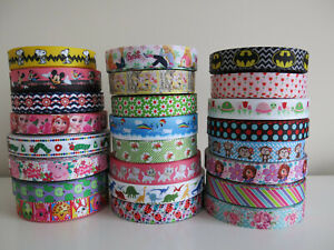 Printed-Grosgrain-Ribbon-Dummy-Hair-Clips-Cake-Craft-Hair-Bow-1-Meter-22-25mm