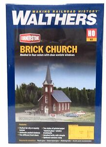 HO Scale Walthers Cornerstone 933-3496 Brick Church Building Kit