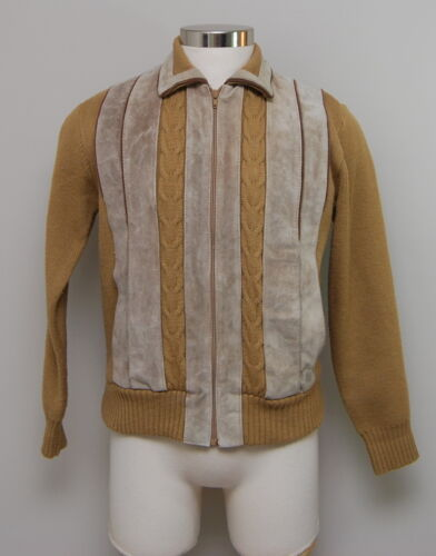 Vintage 1950-60s 38S S/M Sweater Emporium Tan Acrylic/Cowhide Sweater/Jacket