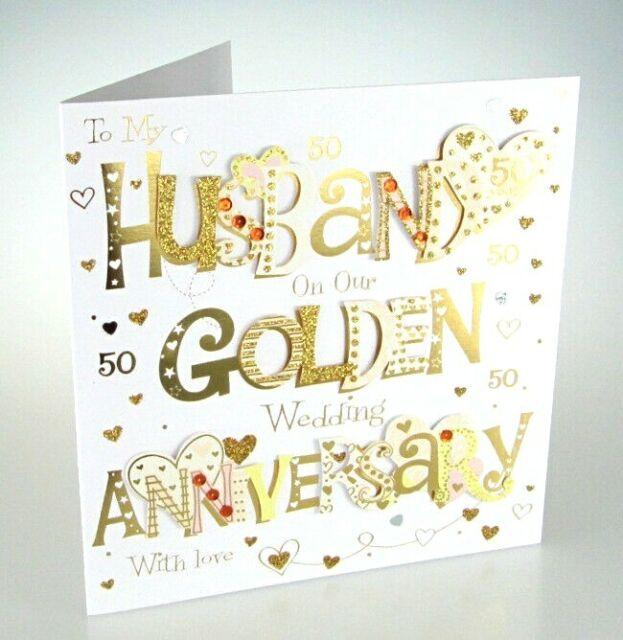 husband golden 50th wedding anniversary greeting card 8