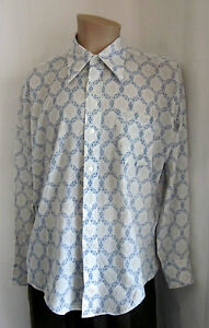 COUNT-BERNARD-Style-Wise-Men-039-s-VTG-Mod-Abstract-Cream-Blue-Shirt-L-Large
