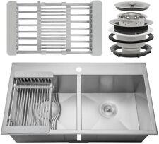 "32/"" x 22/"" x 9/"" Top Mount Handmade Stainless Steel Single Bowl Kitchen Sink"