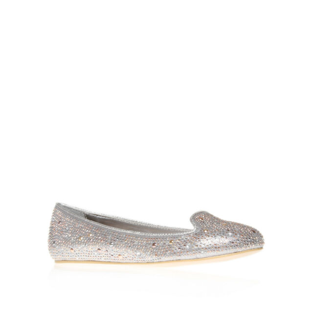 LINDEN CARVELA KURT GEIGER FABRIC SILVER WOMENS LADIES SHOE