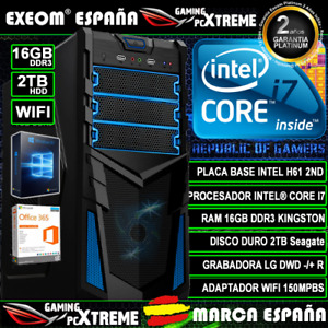 Ordenador Gaming Pc Intel Core i7 16GB DDR3 2TB HDD Wifi Sobremesa Marca España
