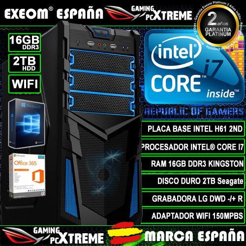 Ordenador Gaming Pc Intel Core i7 16GB DDR3 2TB HDD Wifi Sobremesa...