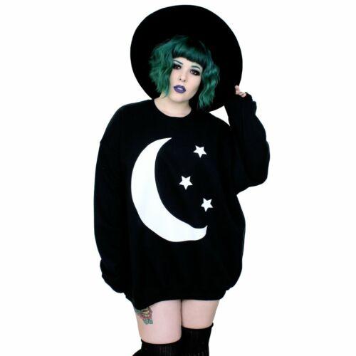 Crescent Moon /& Stars Oversized Black Sweatshirt Top
