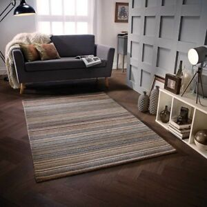 Details About Carter Natural Brown Luxury Striped Wool Rug In Various Sizes And Runner