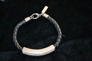 Details zu Original JetteJoop ArmreifArmband Silber925 Schwarz Leder Steine Spange Top!!