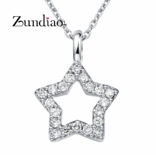 STERLING Silver Micro Pave Cubic Zirconia STAR PENDANT /& Chain Necklace Box D17