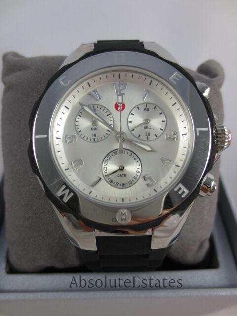 4b19abc4b NEW Michele Jelly Bean Large Tahitian Black & Silver Watch MWW12F000033 NIB