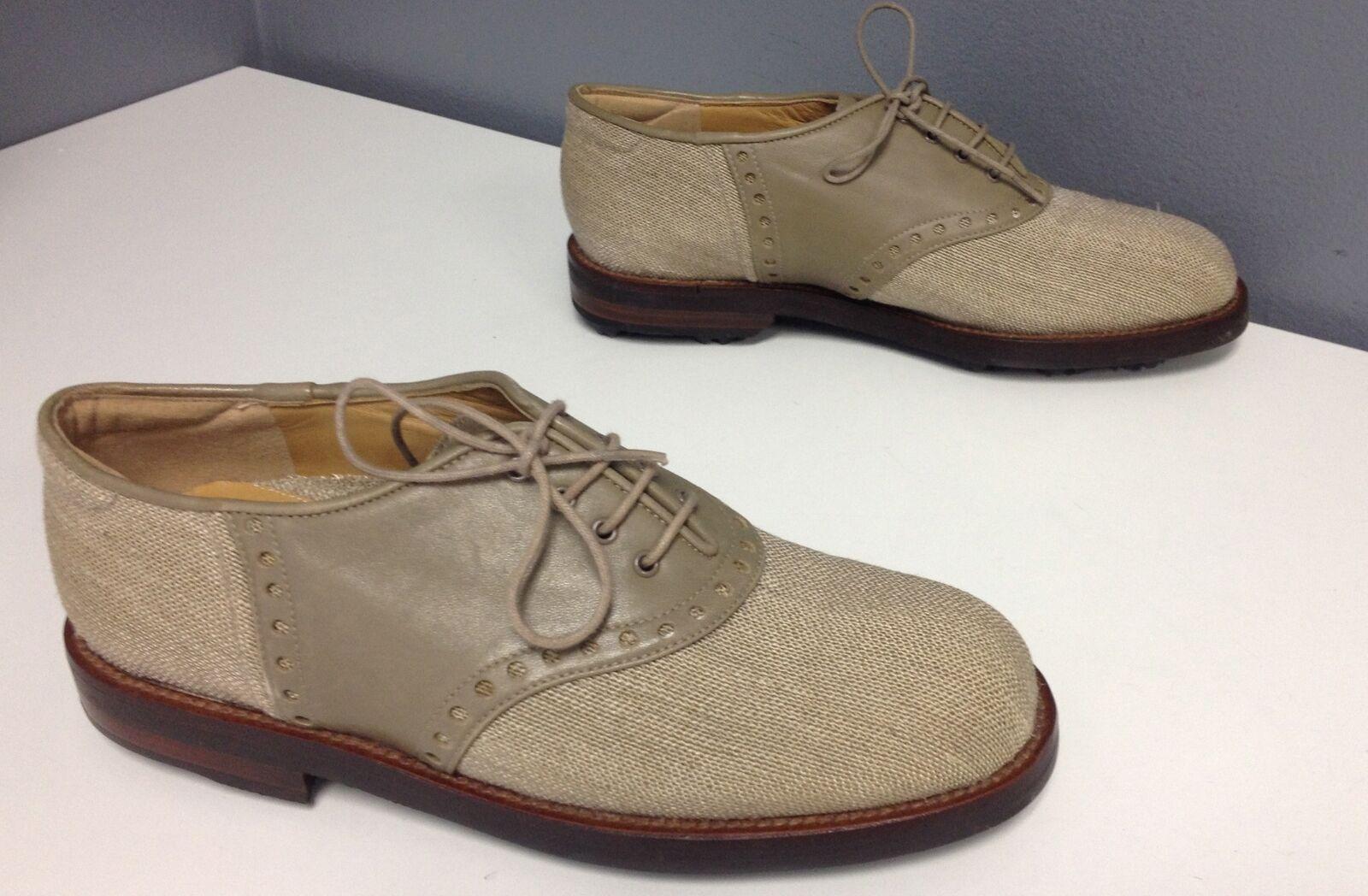 STUART WEITZMAN Beige Linen Perforated Leather Trim Lace Up Cleats Sz 5 B4384