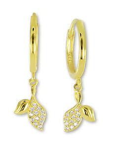 VASCAYA-Damen-Klapp-Creolen-Ohrring-Blaetter-Zirkonia-weiss-Gold-333-Geschenk
