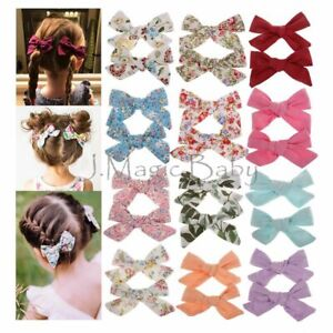 Set-of-2-Baby-Girls-Cotton-Hair-Clip-Pin-Bow-Knot-Hair-Accessories-Barrettes