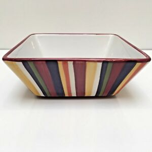 Pampered-Chef-Simple-Additions-Square-Serving-Bowl-Stripes-7-034-Diameter