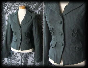 Gothic-Khaki-Green-Detailed-MISFORTUNE-Fitted-Jacket-Coat-6-8-Victorian-Vintage