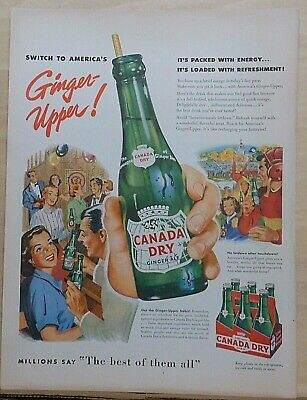 Vintage Canada dry Ginger Ale advert Poster reproduction. Ginger Snap