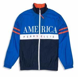 PERRY-ELLIS-Track-Chaqueta-M-America-Nuevo-Cortavientos-Olimpico-Azul-Marinero