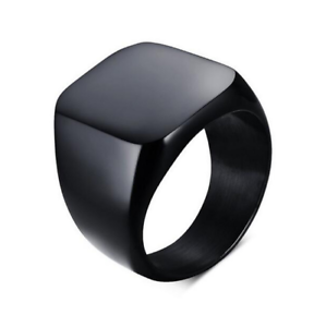 Anello-Fede-Fascia-Uomo-Donna-Unisex-Acciaio-Steel-Nero-Black-Incisione-Quadrato