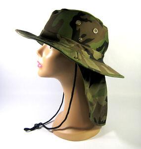 fc283cc3 GREEN CAMO MILITARY BOONIE HAT W/BUCKET EAR FLAP W/NECK SUN PROTECT ...