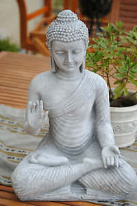 buddha gro grau feng shui statue steingrau budda 45 cm figur garten wetterfest ebay. Black Bedroom Furniture Sets. Home Design Ideas