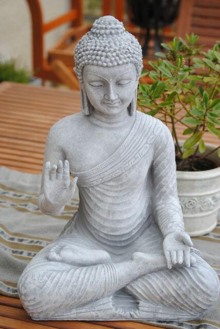 Buddha Groß Grau FENG SHUI STATUE Steingrau Budda 45 cm Figur Garten Wetterfest