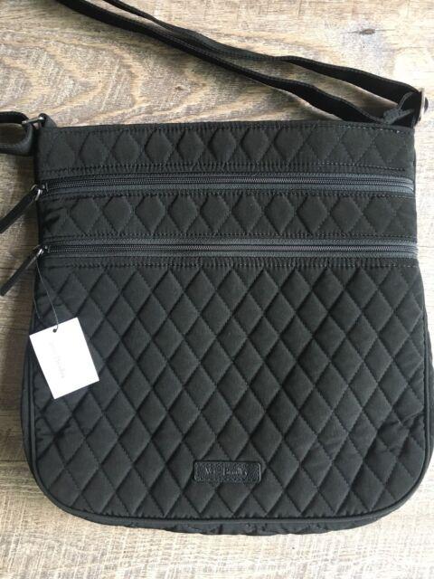 Vera Bradley Triple Zip Hipster Classic Black Microfiber Crossbody Purse Bag