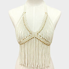 Pearl Body Chain Bead Baby Doll Top Burlesque Bead Fringe Necklace Bra Jewelry