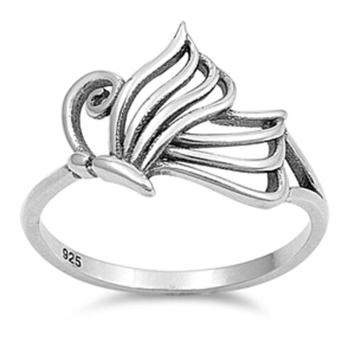 Women/'s Oxidized Butterfly Classic Ring New .925 Sterling Silver Band Sizes 4-10
