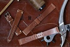 20mm Tan Brown Shell Cordovan Leather Watch Strap Band Handmade In Italy