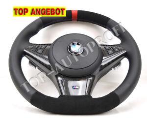 BMW-E60-E61-E63-E64-M-Sport-Lenkrad-Neu-beziehe-mit-Alcantara-ABGEFLACHT-262