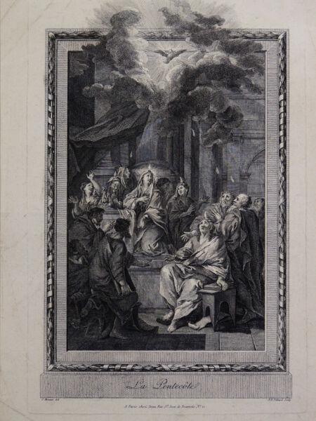 """""""la Pentecôte"""" Gravure Ancienne J.b. Tilliard D'après C. Monnet"""