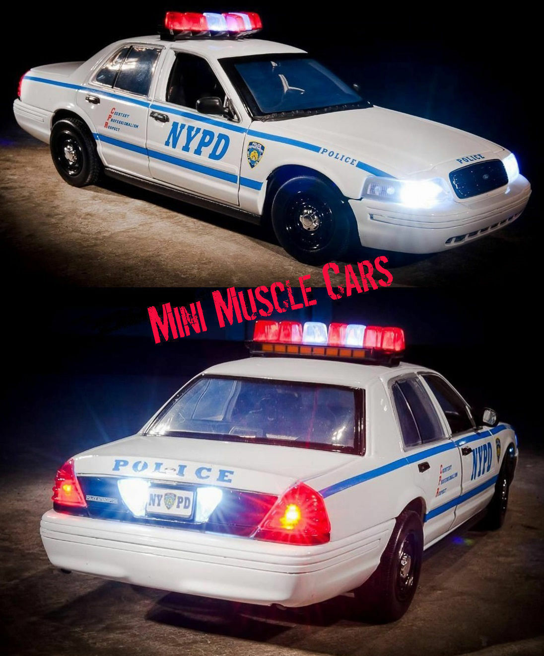 1 18 GrünLIGHT - 2001 FORD CROWN VICTORIA NYPD NY POLICE CAR LIGHTS SOUNDS